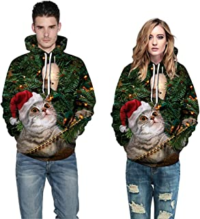 Jocome Mens Women Ugly Christmas Hooded Sweatshirt Sweatshirts 3D Cat Print Graphic Long Sleeve Pullover