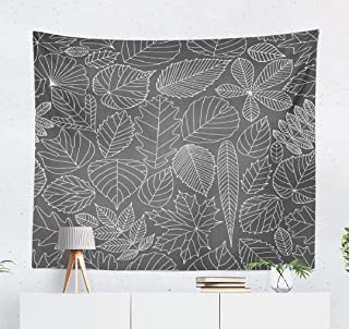 Autumn-Oak Wall Tapestry,Tapestry Wall Hanging Pattern with Tree Leaves Various Cartoon Black and White WallArt for Bedroom WallDecor Tablecloth Dorm Decor 60x50 Inches, Maple