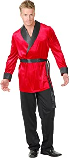Charades Red Velvet Smoking Jacket Adult Costume