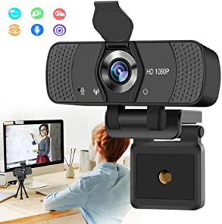 Burxoe Webcam with Microphone, 1080P HD Streaming Web Camera for Desktop Computer, PC USB Camera 110-Degree with Privacy C...
