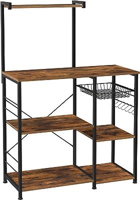 VASAGLE レンジ台 大型レンジ対応 キッチンワゴン レンジボード 食器棚キッチン収納 6個S字ラックを付き 高さ132cm kks35x