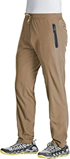MAGCOMSEN Men's Lightweight Breathable Outdoor Sports Pants Quick Dry Elastic Waist Hiking Running Pants with Zipper Pockets