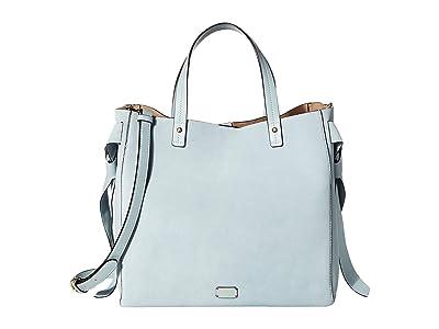 Frances Valentine Margaret Suede Large Tote with Ties (Sky Blue) Handbags
