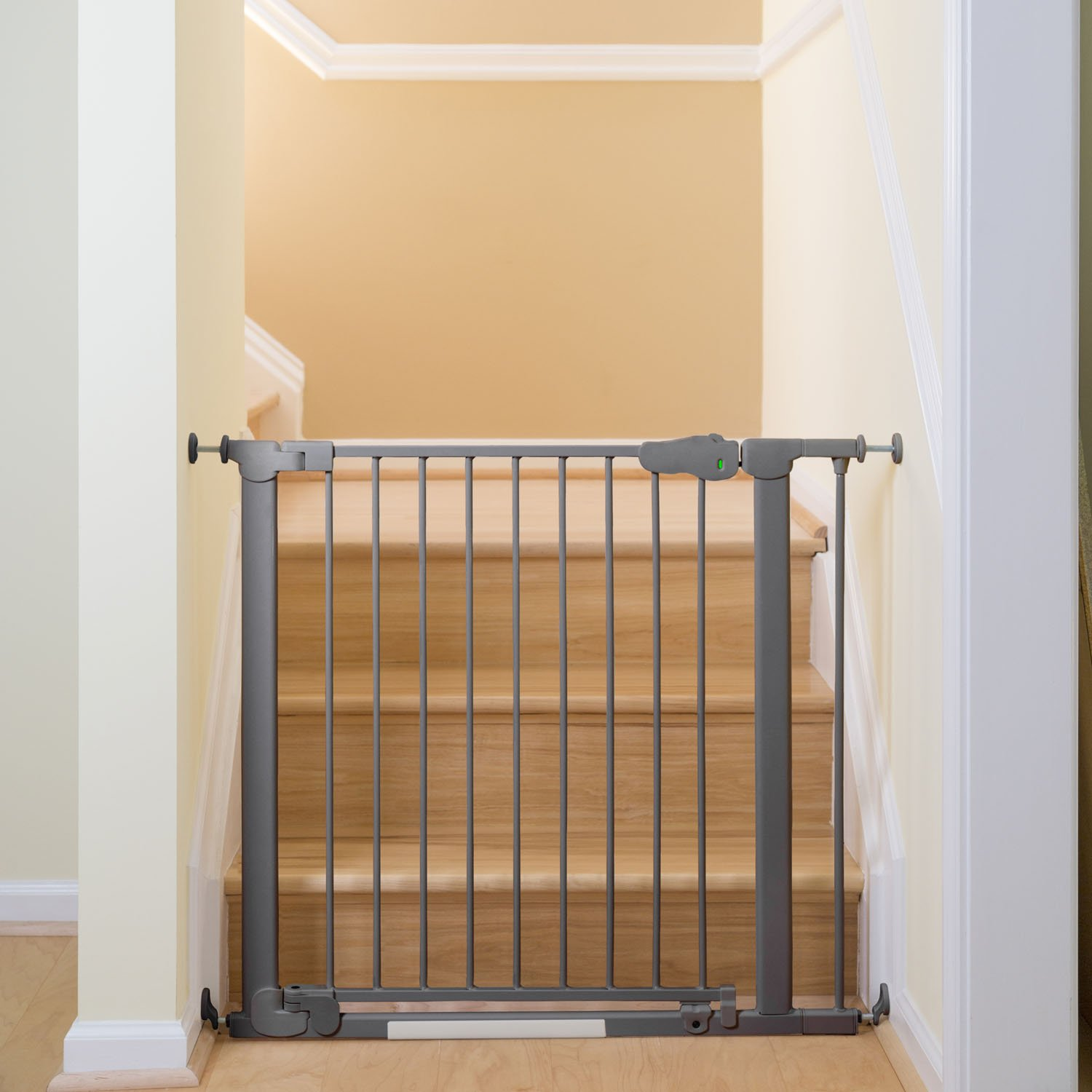 Qdos Auto-Close SafeGate Baby Gate - Professional Grade Meets Tougher European Standards - Automatically Closes and Latches - Magnetic Lock Indicator - Easy Installation   Pressure Mount   Slate