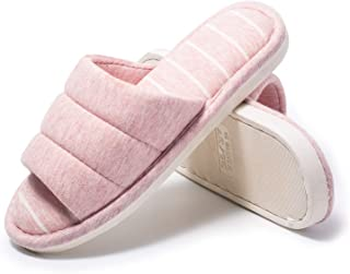 Bofshow Women's Soft Indoor Slippers Open Toe Cotton Memory Foam Slip on Home Shoes