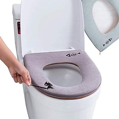JIAHU Housse de siège de toilette en cuir imperméable avec motif de chat mignon - Gris - 1 pièce