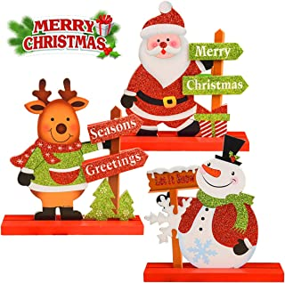 JTIEO Gift Boutique 3 Christmas Table Decorations for Dinner Party Coffee Table Snowman Santa Reindeer Merry Christmas Happy Holidays Centerpiece