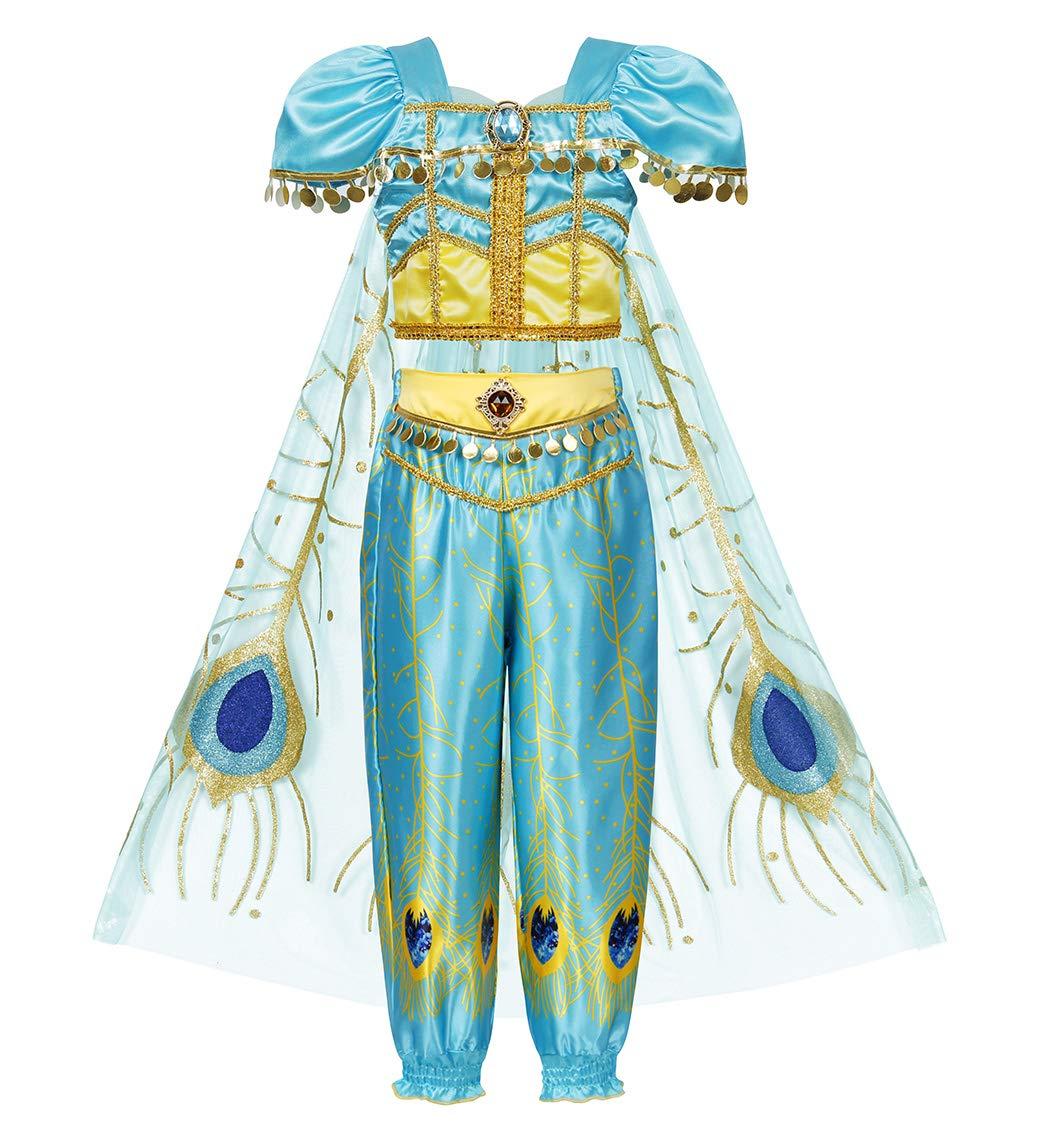 Girls Princess Jasmine Costume Halloween Party Dress Up for girls 2-10 Years