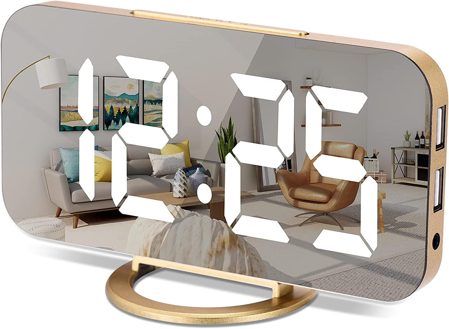 Digital Alarm Clock,7 in LED Mirrored Clocks Large Display,with 2 USB Charger Ports,Auto Dim,Night Mode,Modern Desktop Electronic Clocks for Bedroom Home Office Decor - Gold