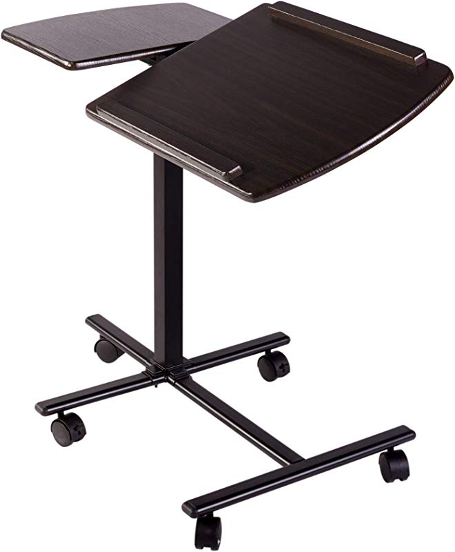 OneSpace 50 JN01ES Angle And Height Adjustable Laptop Computer Dual Surface Espresso Mobile Desk