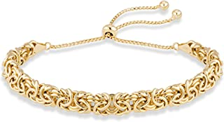 MiaBella 18K Gold Over Sterling Silver Italian Byzantine Adjustable Bolo Link Chain Bracelet for Women 925 Handmade in Italy