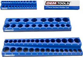 OEMTOOLS 22486 3 Piece Magnetic Socket Organizer, Holds 75 Metric Sockets, 1/4 Inch, 3/8 Inch, and 1/2 Inch Shallow and De...
