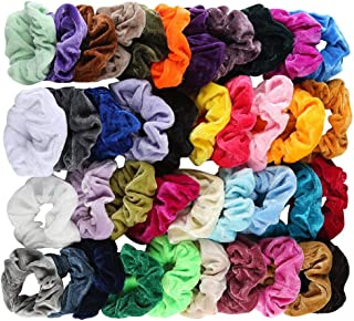 BYIA 40 Pcs Hair Scrunchies Velvet Elastic Hair Bands Scrunchy Hair Ties Ropes Scrunchie for Women or Girls Hair Accessories (40 PCS Velvet Hair Scrunchies)