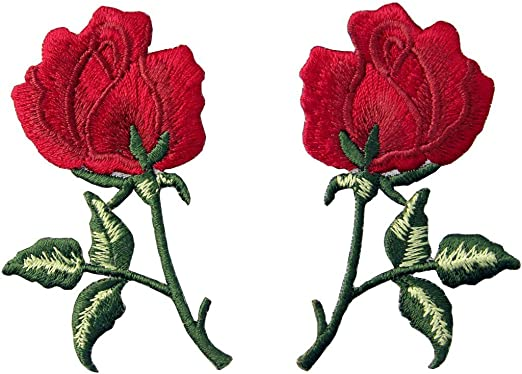 Parche termoadhesivo para la ropa, diseño de Retro Flores Boho Rosa roja