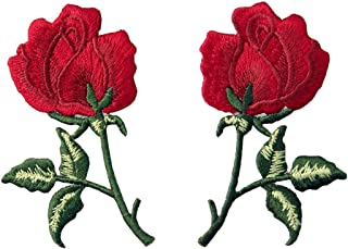 Flowers Boho Red Rose Patch Embroidered Retro Floral Applique Iron On Sew On Love Emblem, Set of 2 Pcs