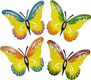 Giyyomtr Metal Butterfly Wall Decor Outdoor 4 Pack Butterflies Garden Wall Art Decor for Fence Patio Yard Decoration