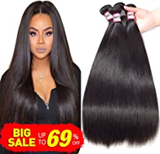 Bestsojoy 10A Brazilian Virgin Hair Straight 4 Bundles Brazilian Human Hair Extensions 100% Unprocessed Human Hair Weave Natural Color (20 22 24 26)