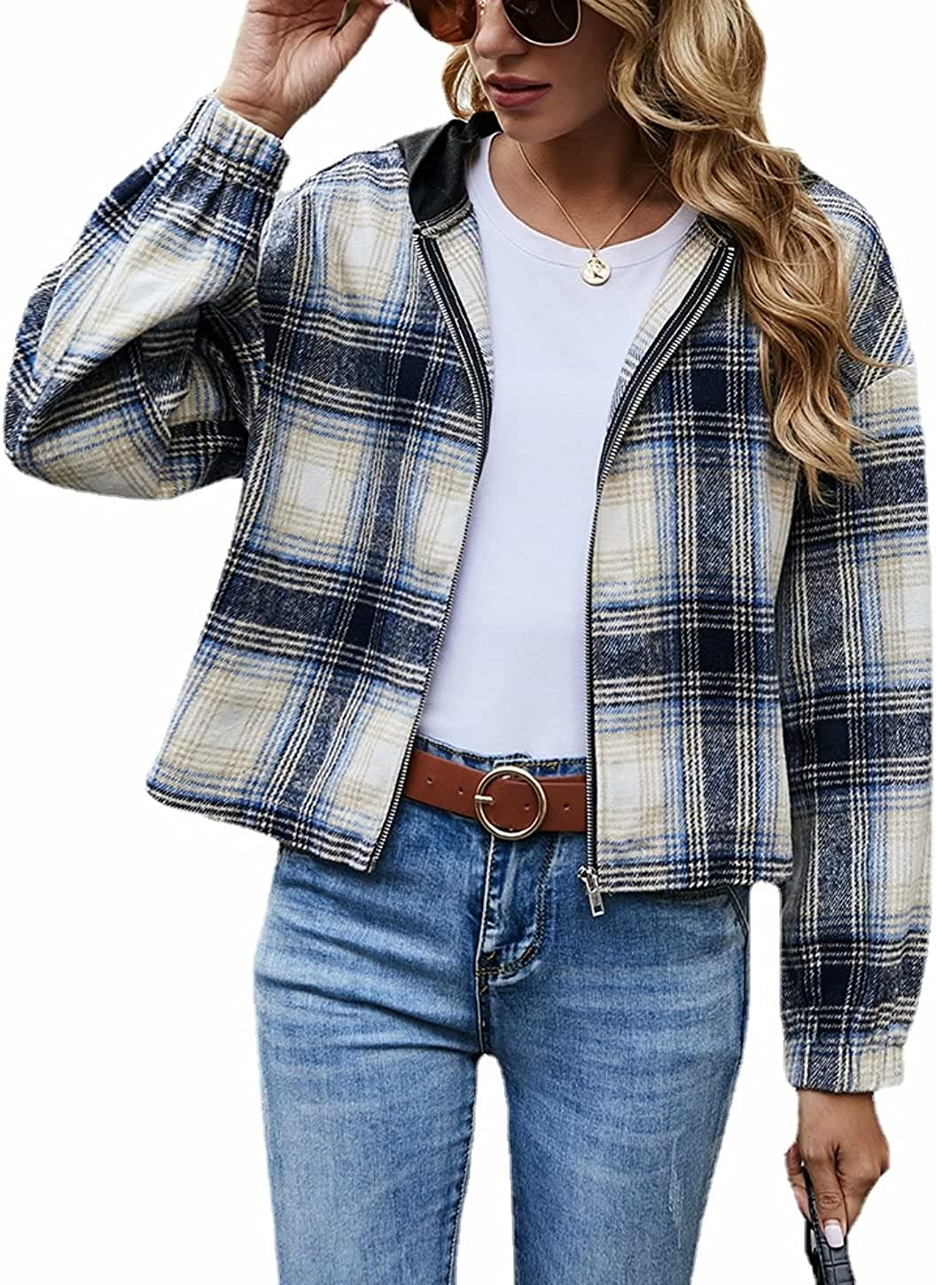 Hooded Plaid Flannel Shirt Jackets for Womens Casual Loose Elastic Cuffs Zip Up Short Cropped Shackets Coat