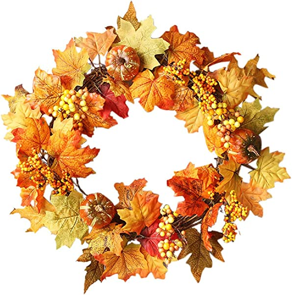 Wreaths For Front Door 20 Inch Coupondeal Thanksgiving Fall Wreath Door Wreath With Pumpkins Pinecone Maple Leaf