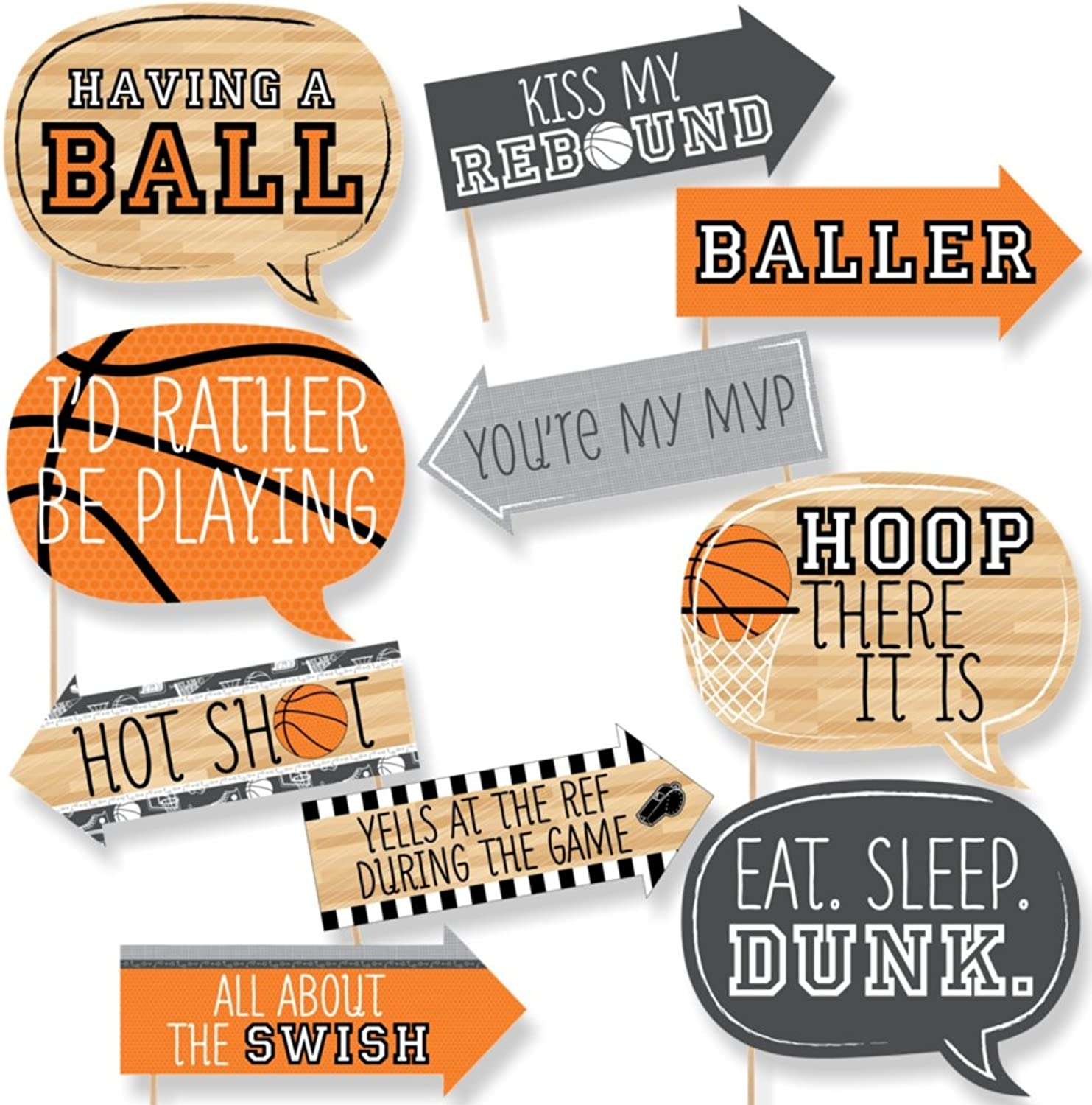 Funny Nothin' But Net - Basketball - Tailgating Party Photo Booth Props Kit - 10 Piece