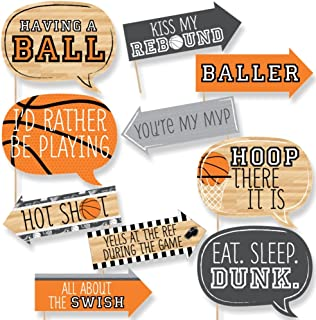 Big Dot of Happiness Funny Nothin' but Net - Basketball - Tailgating Party Photo Booth Props Kit - 10 Piece