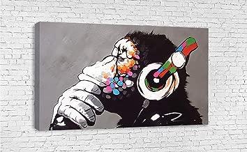 """BANKSY DJ MONKEY CHIMP STREET ART CANVAS WALL ART (30"""" X 18"""" / 75 X 45cm)"""