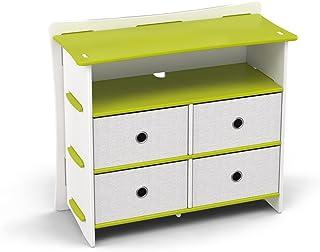 Legaré Furniture Children's Sturdy 4-Drawer Dresser, Storage Organizer for Kid Bedroom, Frog Collection, Green