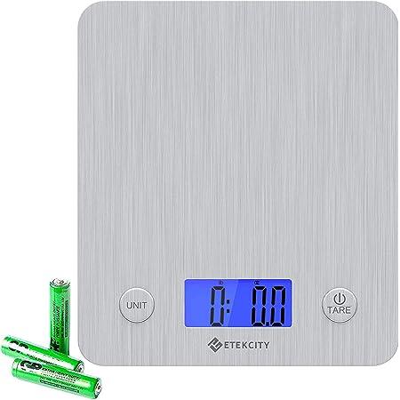 Etekcity Balance de cuisine numérique en acier inoxydable 5 kg/11lb(1g/0.1oz) Balance de précision avec plateforme 30% plus grande, balance de cuisine ultra fine, liquide ml, écran LCD, argent