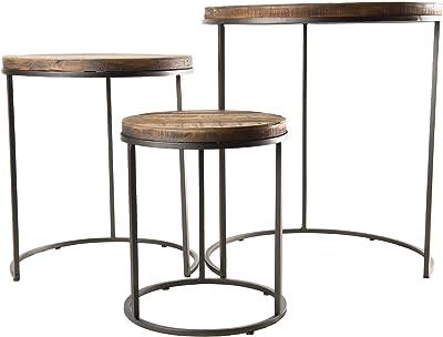 MACABANE Set de 3 Tables d'appoint Rondes gigogne Teck recyclé Acacia Mahogany Pieds métal, 53 x 53 x 59