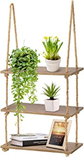 Magicfly Wood Hanging Rope Shelf, Wall Swing Storage Floating Window Shelves for Plant, Set of 3 Tiers, Brown