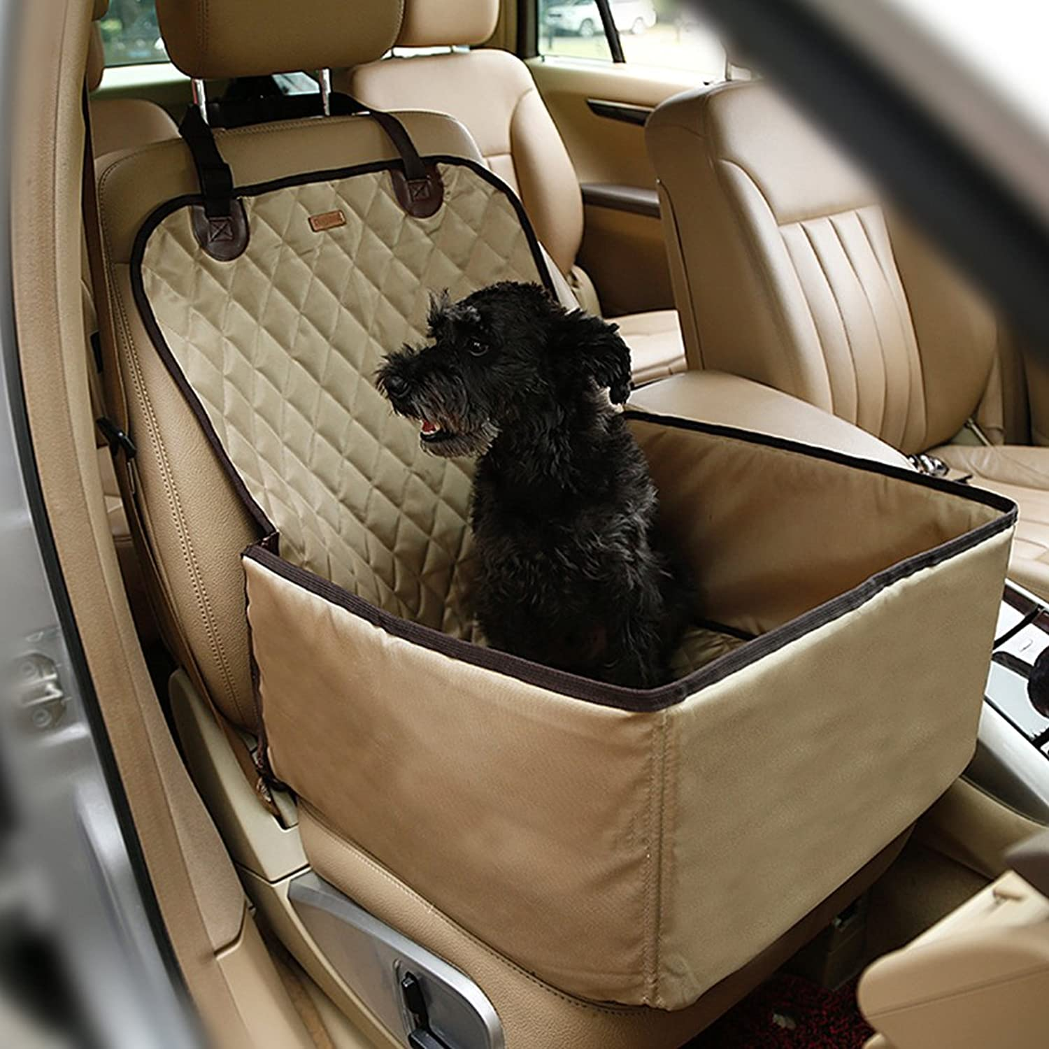 Aosbos Dog Pet Seat Cover for All Cars Waterproof and Nonslip Backing(Beige)