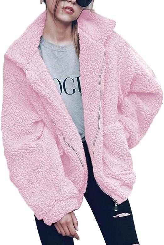 pink warm teddy jacket cute warm