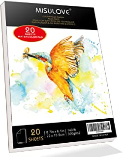 """MISULOVE 6.1X8.7"""" Watercolor Paper Pad, Cold-Pressed, Acid-Free, Ideal for Watercolor Painting and Wet Media, Textured Pap..."""