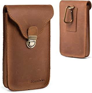 Ranboo Genuine Leather Belt Pouch iPhone Xs Max Holster, iPhone 8 Plus 7 Plus Belt Clip Case,Samsung S8 S9 + Note 9 8 Carrying Pouch Cellphone Holder (Fit w/Phone Case on) -Brown