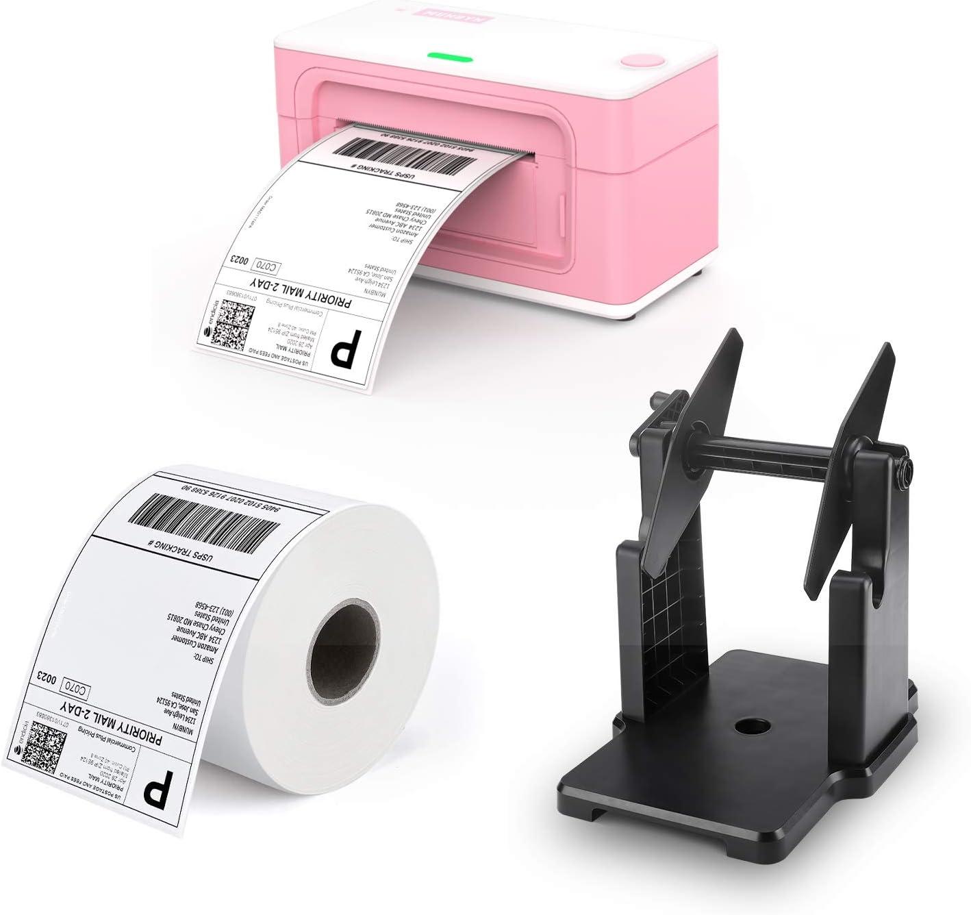 Pink Shipping Label Printer, [Upgraded 2.0] MUNBYN Label Printer Maker MUNBYN Thermal Direct Shipping Label MUNBYN External Rolls Label Holder
