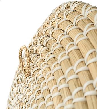 Artera Wicker Wall Basket Decor - Set of 3 Oversized, Hanging Natural Woven Seagrass Flat Baskets, Round Boho Wall Basket Dec
