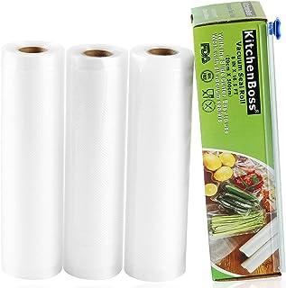 Bolsas de Vacio 3 Rolls 20x500cm con Caja de Corte (No Más Tijeras) para Almacenaje de Alimentos,Sous Vide Cocina, BPA Free