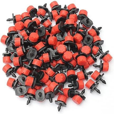 Demiawaking, confezione da 100 pezzi, in plastica, con sistema di irrigazione a goccia, regolabile, Anti-intasamento emettitore-Tubo da giardino