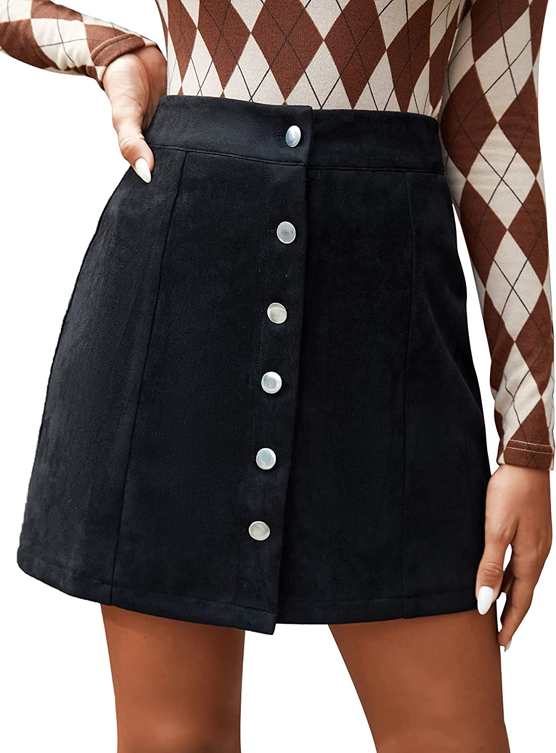 SheIn Women's Casual Button Front Solid Suede A-Line Short Skirt