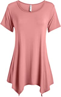 Womens Basic Tunic Top Reg and Plus Size Short Sleeve Flowy Loose T Shirt - USA