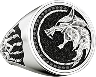 Best CHOOOICE Stainless Steel Wolf Head Ring Wizard Nordic Retro Hunter Cool Bands Jewelry for Men Review
