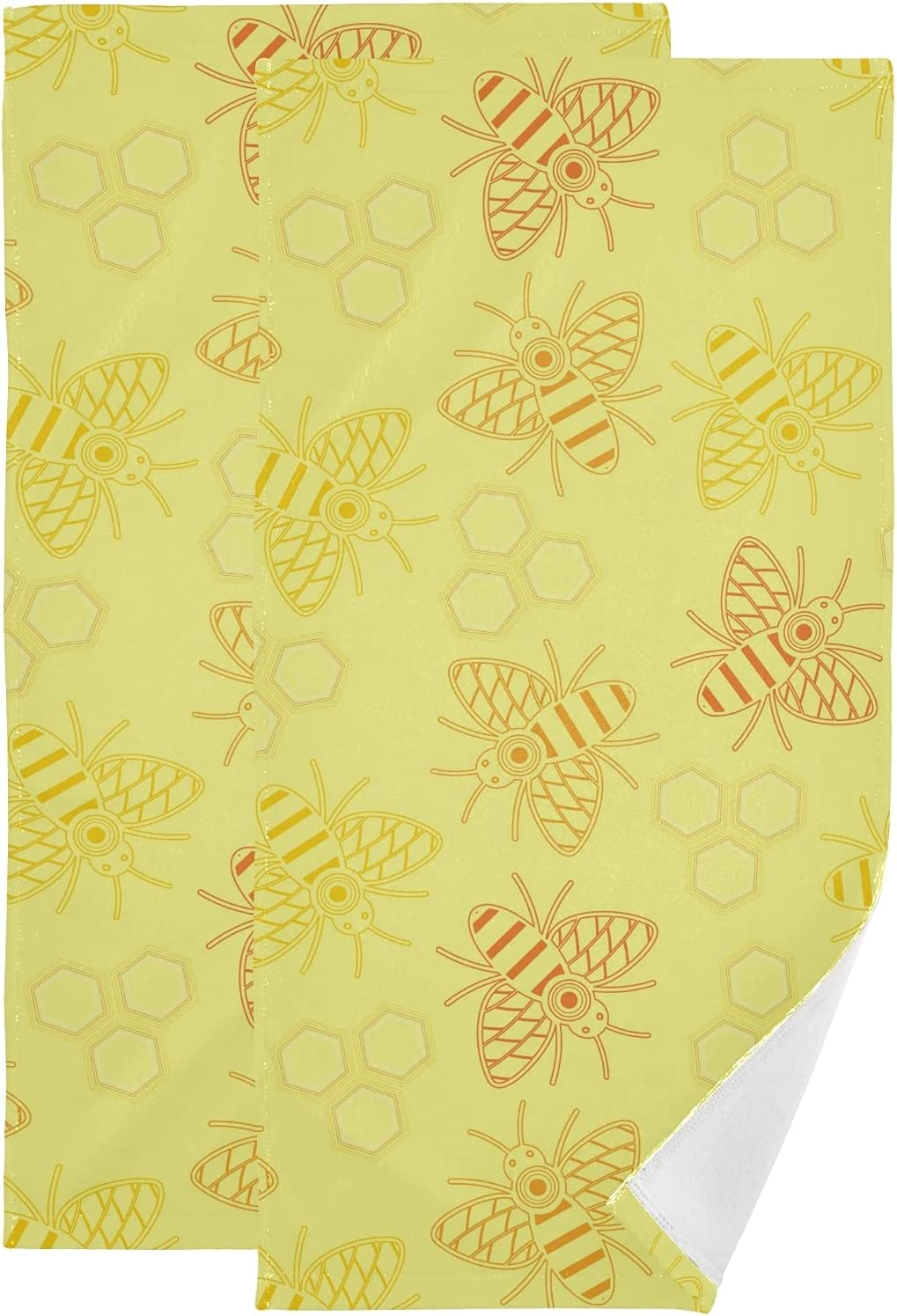 Yellow Oakland Mall Bee Classic Honeycomb Hive Face Towel 2 Hand of Kitchen Set