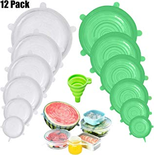 Silicone Stretch Lids,HI NINGER Silicone Lids Covers 12-Pack for Keeping Food Fresh,Reusable Fresh-Keeping Silicone Lids, Fruit Bowl Lids Food Cover Wrap Fit Various Size