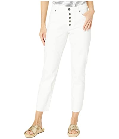 KUT from the Kloth Reese High-Rise Ankle Straight Exposed Button Front in Optic White (Optic White) Women