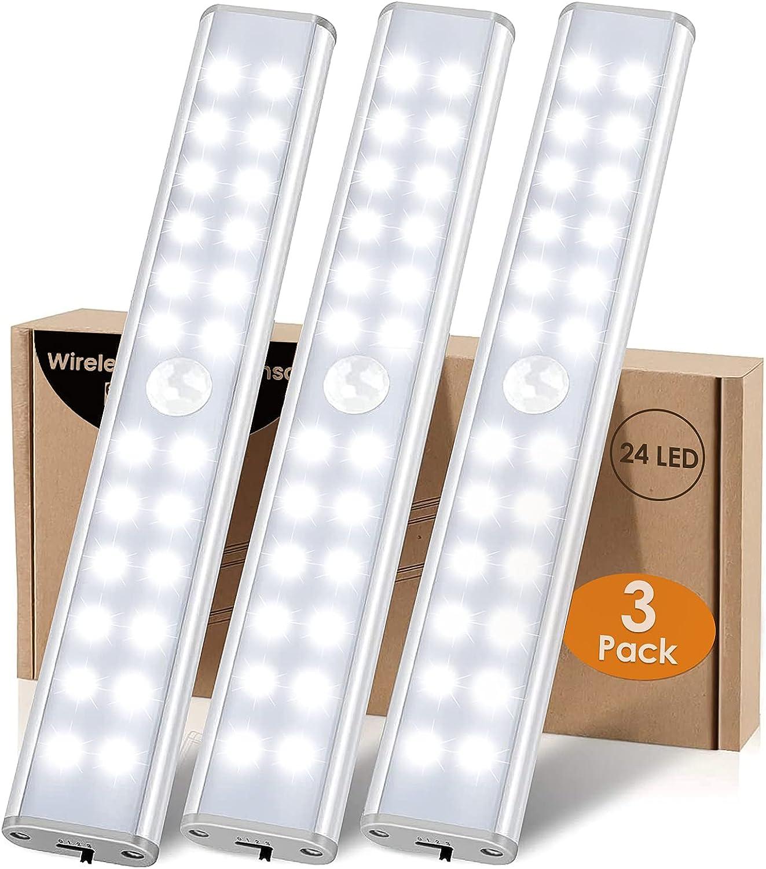 LED Armario 24 LED Luz Sensor Movimiento Interior LED Luces Armario Sensor con Pilas Recargables y 4 Modos Tira LED Luz Nocturna Magnética Inalámbrica Pilas para Armario Cocina Gabinete Pasillo,3 Pack