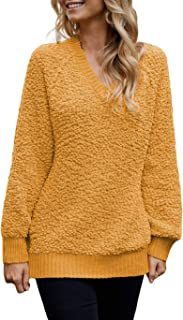 Eternatastic Women's Casual V Neck Loose Fit Knit Sweater Pullover