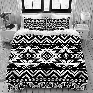 DAOPUDA King Size Duvet Cover,Black White Tribal Vector Seamless Navajo,Decorative 3 Piece Bedding Set with 2 Pillow Shams,Zipper Closure,Ultra Soft 104