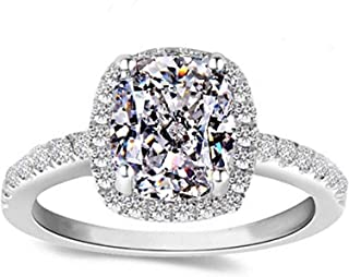 Diamonbella Sale 101 Facets 2 Carat Emerald Cushion Cut NSCD Halo Simulated Diamond Ring Solid 925 Silver Platinum Plated Rectangular