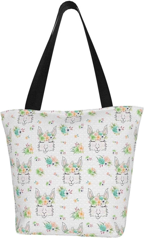 White Garland Head Llama Themed Printed Women Canvas Handbag Zipper Shoulder Bag Work Booksbag Tote Purse Leisure Hobo Bag For Shopping