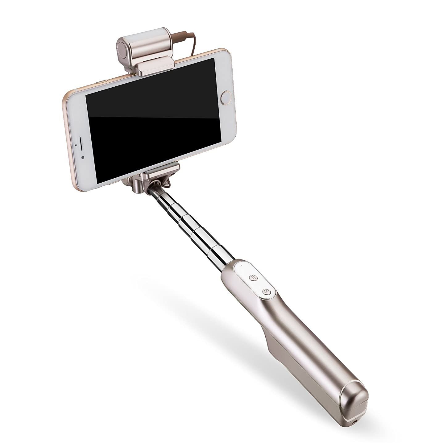 Selfie Stick, LEXSTRA bluetooth selfie stick with 360 degree soft LED light and mirror for iphone 8-4 iphone X and android